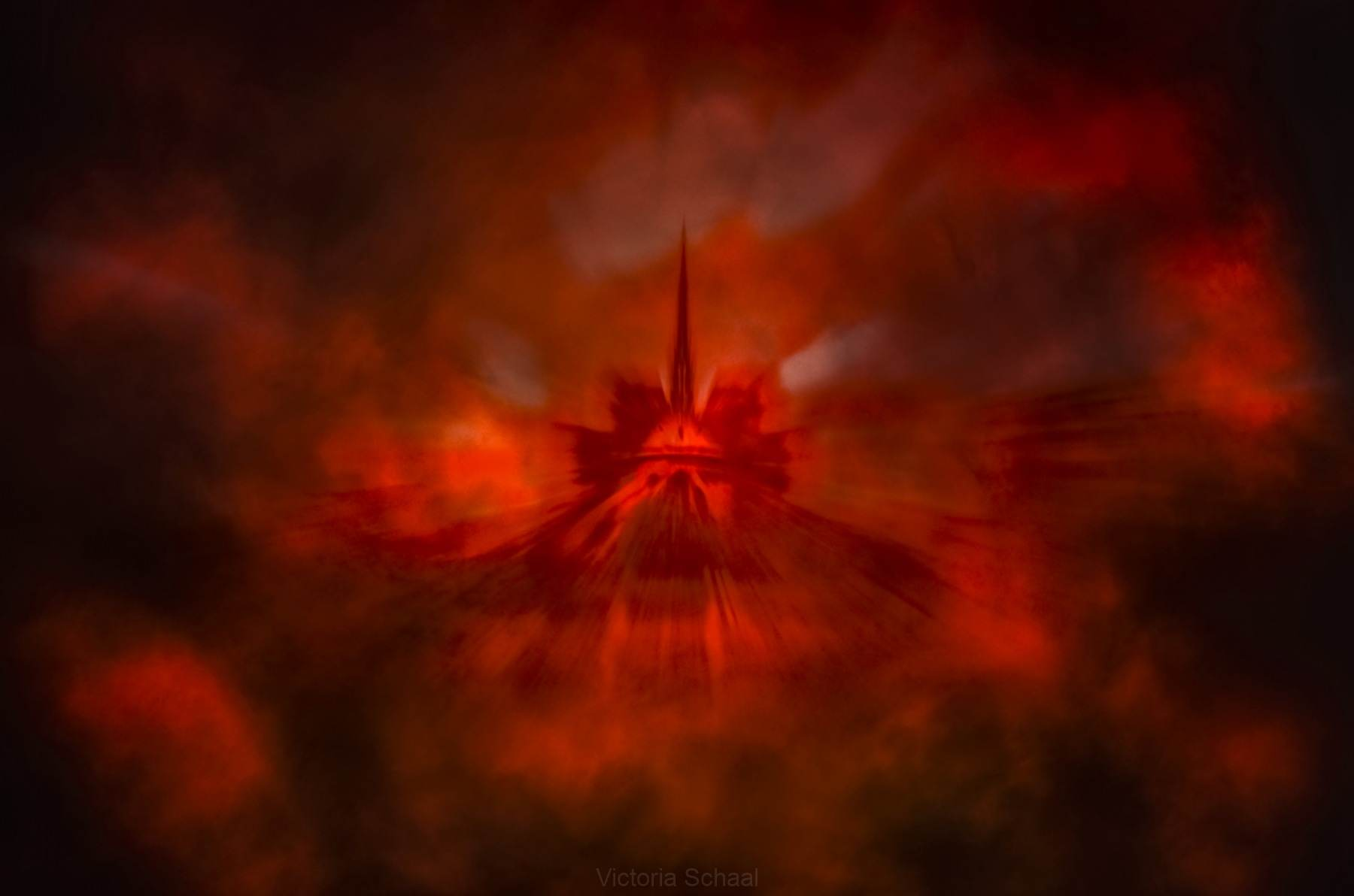 Conceptual Notre-Dame cathedral in red smoke and fire