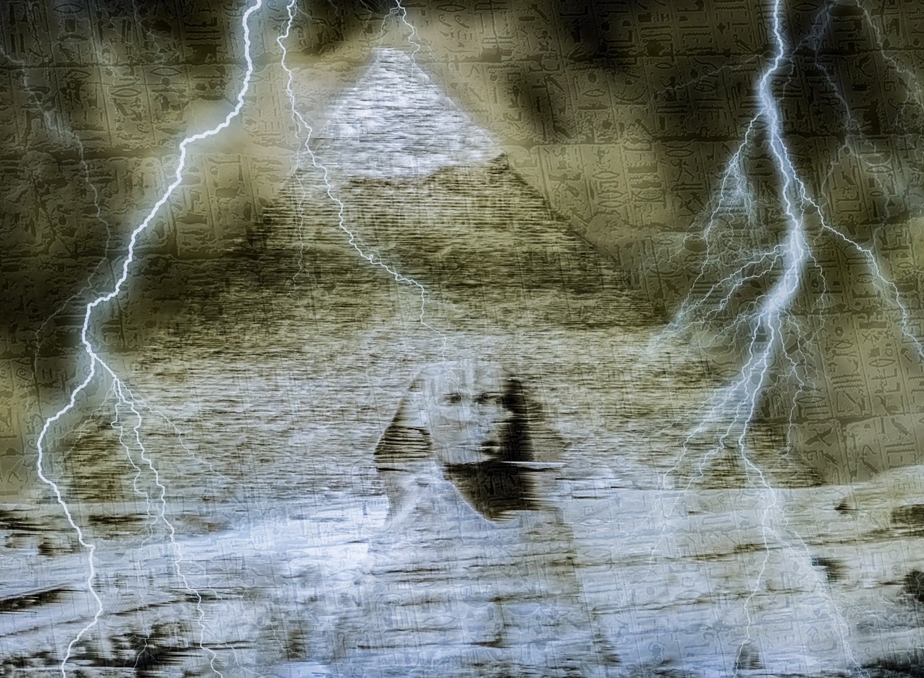 Fantasy image of the curse on the pyramids and the sphinx