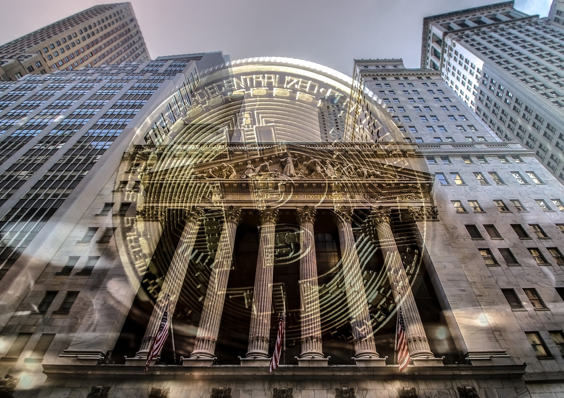 Bitcoin with wall street stock exchange facade on background