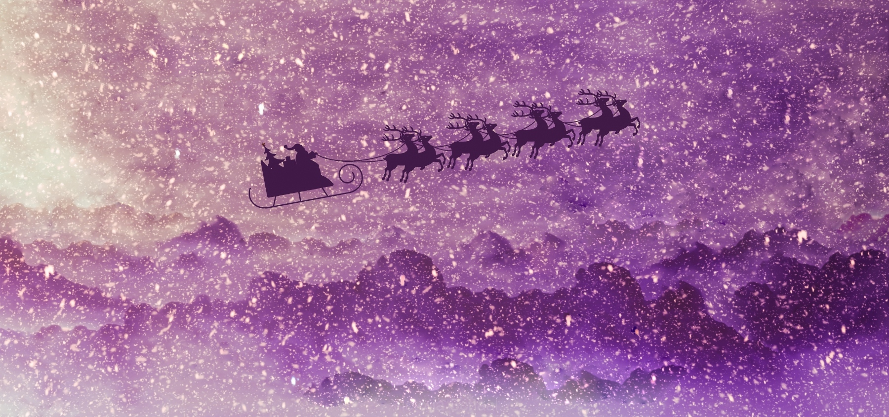 Santa and deer flyong on sleigh in snowy illustrated winter landscape
