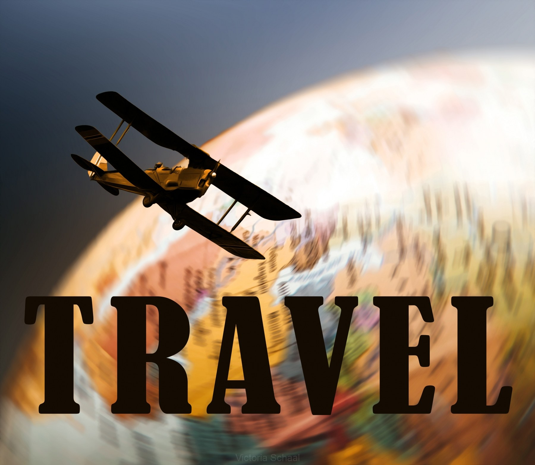 Retro and vintage poster of biplane travelling over spinning globe and text