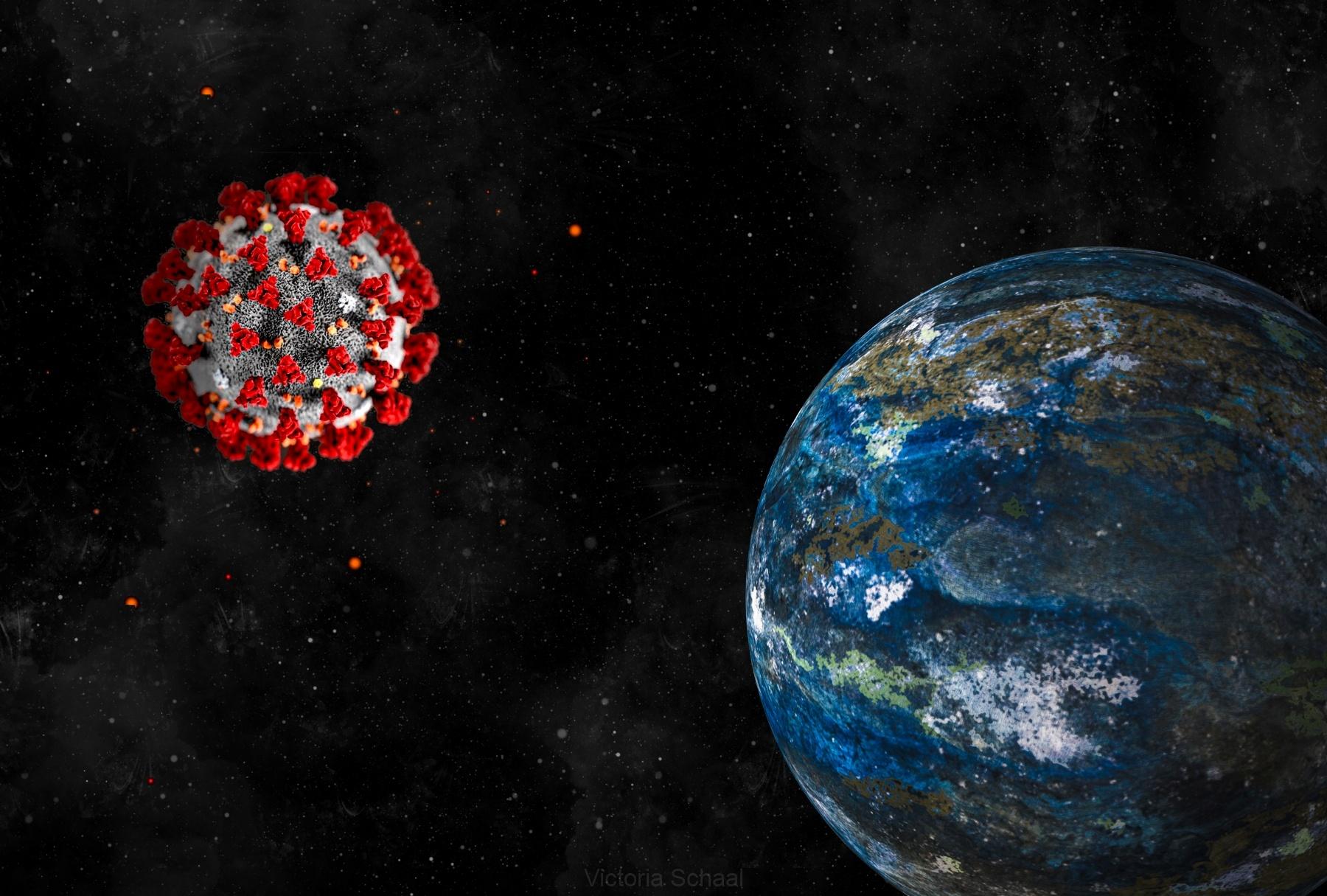 Earth in cosmos enlightened by Coronavirus