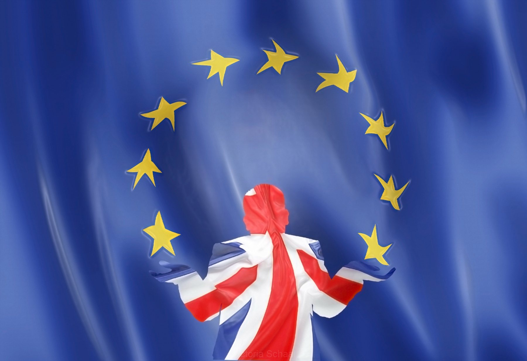 Conceptual ironic UK playing with EU stars
