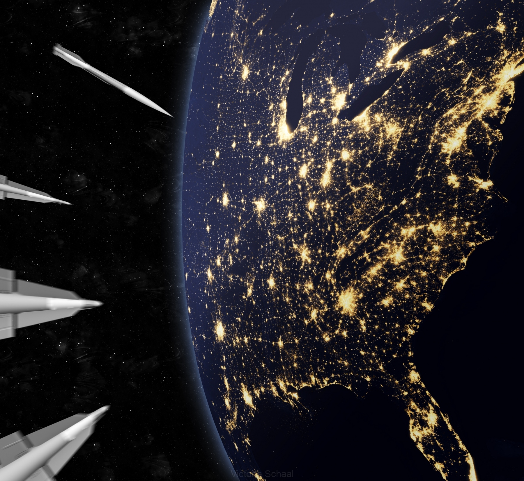 Approaching nuclear missiles attacking the US