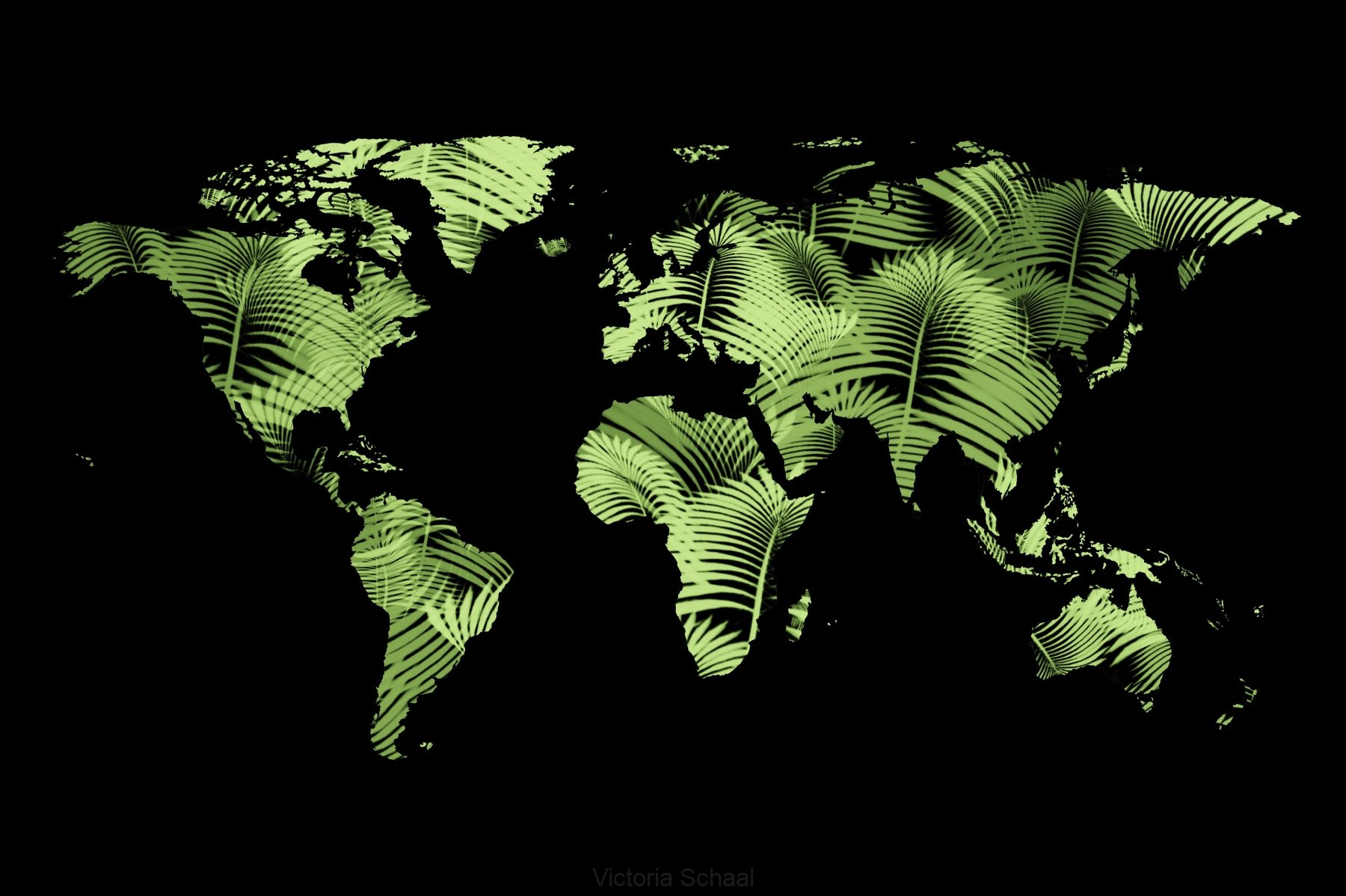 Map of world made of herbal green connections