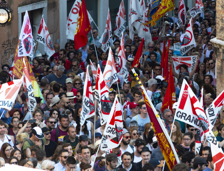 Venice, Italy, 08.06.2019 Protesters against cruise ships in Venice